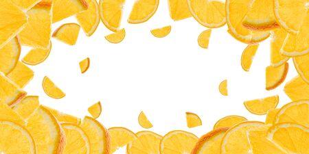 Falling fruit isolated. Orange tangerine citrus flying on white background. Fresh food concept