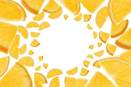 Orange background fruit. Citrus tangerine slices isolated on white. Falling background