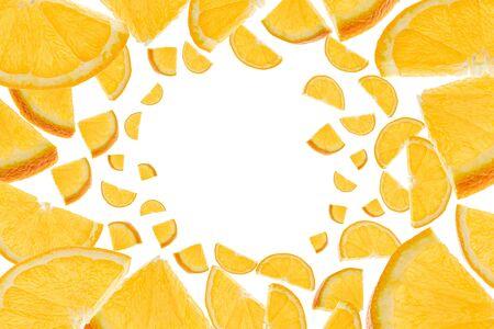 Tangerine isolated. Orange citrus fruit slices flight in air. Falling background. Fresh food concept Imagens