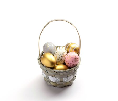 Happy Easter eggs white background. Golden shine decorated eggs in basket, for greeting card, promotion, poster.