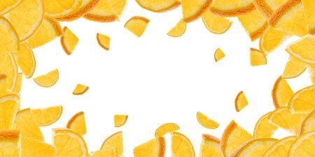 Orange fruit slice falling on white. Citrus tangerine isolated background.