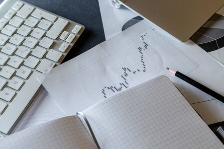 Finance control and analysis documents for Planner to set timetable,agenda,appointment,organization,management in meeting room. Stock Photo