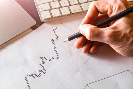 Statistical process control. Charts graphs diagram - financial background. Analytics and financial concept. Reflection light and flare.
