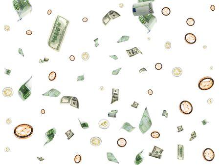 Hundred dollar bill. Falling Euro money, Bitcoin isolated background. American Cryptocash.