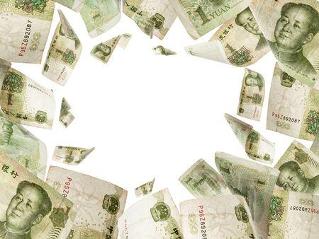Yuan bill. Chairman Mao, Mao Zedong Chinese cash. renminbi money background. Money falling.