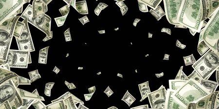 Dollar bill. Washington American cash. Usd money black background. Money falling