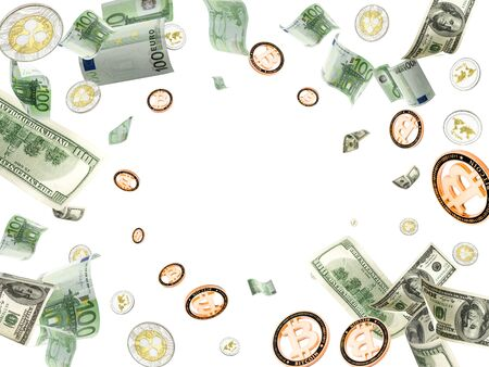 Euro money background. American banknote, Bitcoins flying on white. Cryptocurrency background