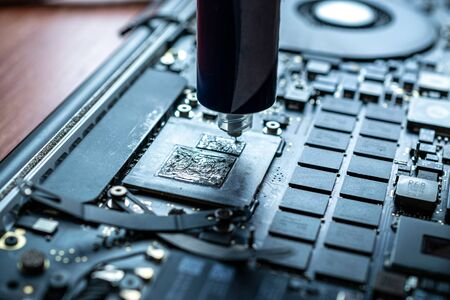 Computer technology. Electronic hardware repair, pc service and maintenance from technician engineer man. Digital chip equipment support. Stock Photo
