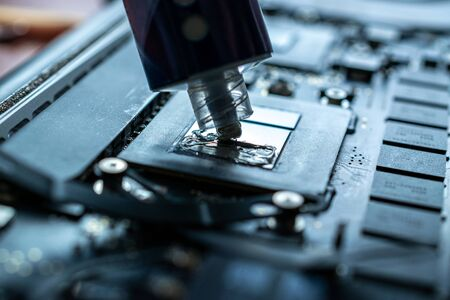 Repair computers. Technology maintenance hardware from man engineer. Electronic technician pc service. 写真素材