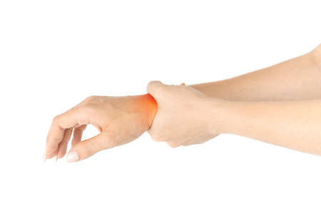 Carpal tunnel. Hand pain in woman injury wrist. Arthritis office syndrome is consequence of computer. Health care isolated on white background.