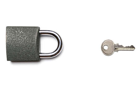 Lock isolated on white background. Security concept with metal lock pad with key