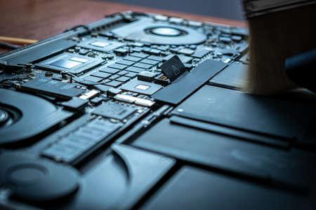 Computer repair hardware technology. Technician electronic pc service from engineer man. Digital chip maintenance