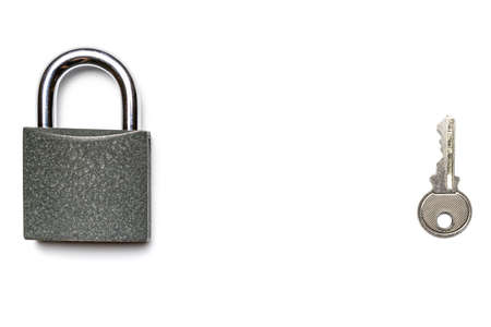 Security padlock. Metal lock pad with key isolated on white background.