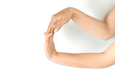 Finger exercise. Female finger charge, stretch therapy for pain wrist protective isolated on white background. Healthy workout exercise. Woman hand massage for carpal tunnel syndrome protection.