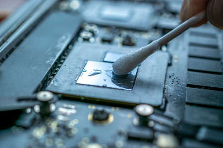 Engineer technician man upgrade and maintenance digital pc. Solutions services electronic hardware. Technology chip equipment repair.