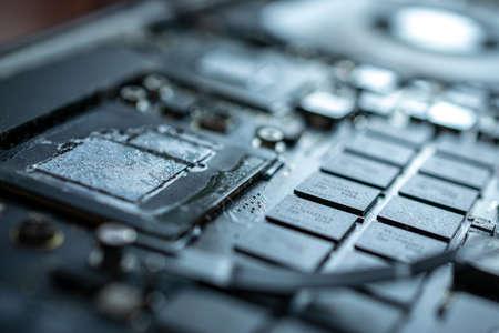 Computer service. Technology repair of pc electronic equipment. Technician engineer man do maintenance of hardware