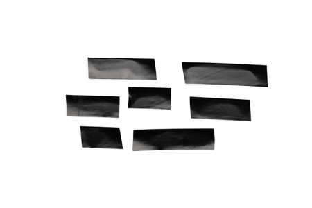 Tape roll. Adhesive paper or black sticky piece scotch isolated on white background. Torn strip grunge texture