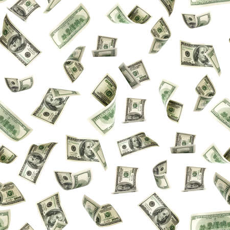 Dollar seamless money background. One hundred dollars of America. Usd cash money isolated on white.