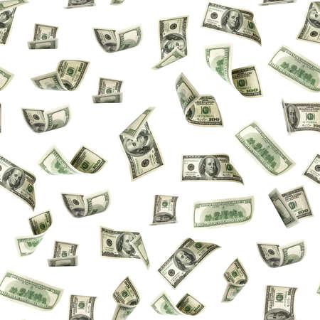 Seamless money pattern. Dollar bill. Washington American cash. Usd money isolated on white background