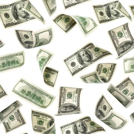 Poker prints us dollar. American money, isolated on white cash. Flying hundred dollars isolated on white background