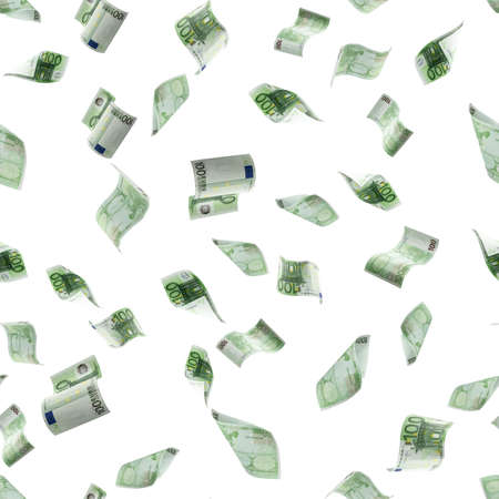 Money seamless pattern background. Hundred european euro.Business cash money falling. Euro money falling cash