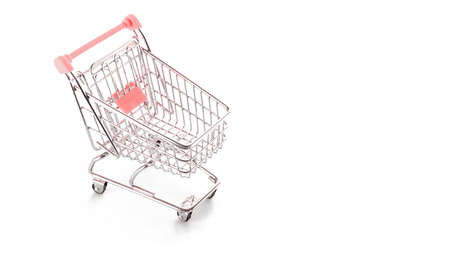 Cart market. Food shopping basket for retail market. Empty trolley cart for supermarket isolated on white background. Minimalism style. Square crop. Creative design