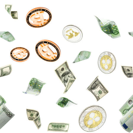 Dollar seamless pattern bill. Washington American cash, Euro, Bitcoin Cryptocurrency falling on white. Usd money background.