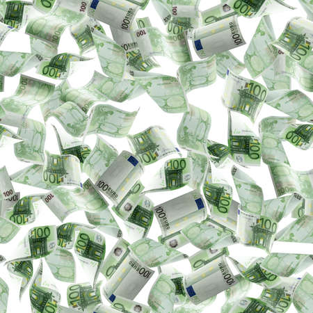 Counting euro banknote falling isolated. Money cash seamless pattern texture on white background.