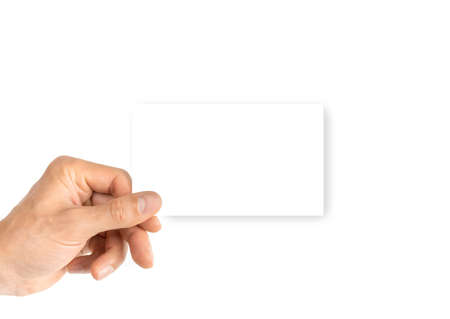 Card isolated. Hand holding blank business paper card isolated on white background. Empty credit template in person arm