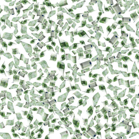 Euro money falling cash. European banknotes seamless pattern isolated on white background