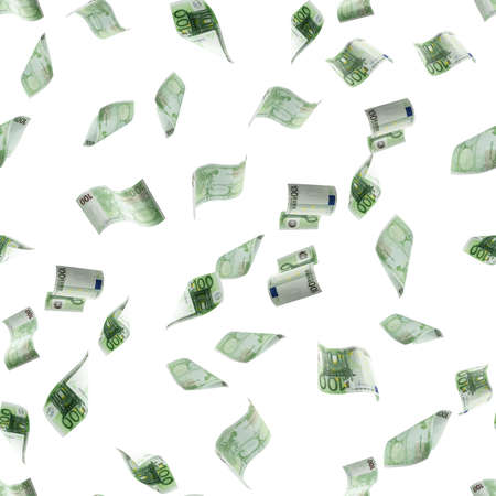 Euro money seamless pattern background. Banknote falling isolated textures on white background 版權商用圖片
