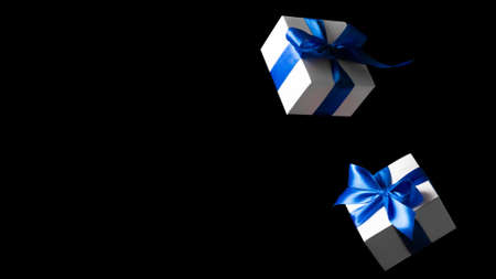 Gift online. White gift box with blue ribbon isolated on black background in Black Friday concept. Winter flying composition with copy space