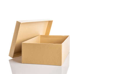 Carton box design. Brown cardboard package for shipping delivery isolated on white background. Carton delivery packaging, recycling brown boxes
