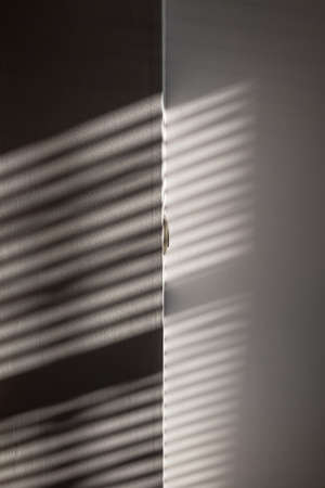 Shadow background. Sunlight architecture abstract background with light, black shadow overlay from window on white texture wall. Product presentation, backdrop and mockup, summer seasonal concept Stok Fotoğraf