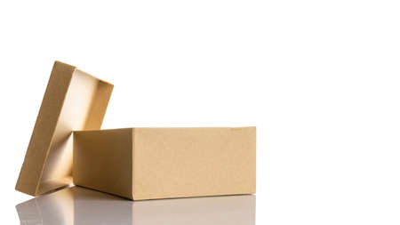 Brown box. Cardboard carton package for shipping delivery isolated on white background. Craft paper object with clipping pat