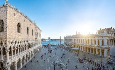 San Marco square in travel Europe city Italy, Venice. Panoramic view old Italian architecture with landmark bridge, romantic boat. Venezia