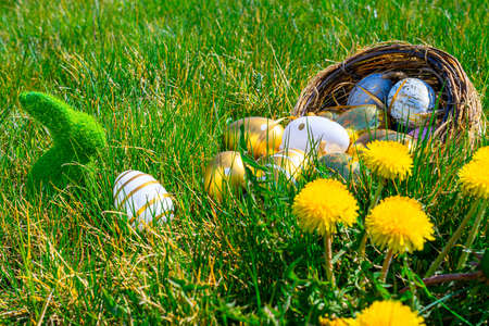 Easter eggs. Golden egg with yellow spring flowers in celebration basket on green grass background. Easter hunt concept Stok Fotoğraf