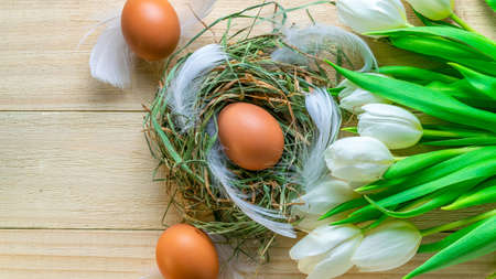 Easter symbol. Natural color eggs in basket with spring tulips, white feathers on wooden table background in Happy Easter decoration. Congratulatory easter flat lay design