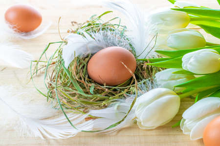 Easter symbol. Natural color eggs in basket with spring tulips, white feathers on wooden table background in Happy Easter decoration. Congratulatory easter design