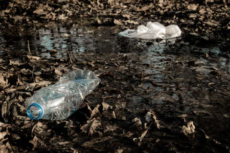 Waste management. Plastic trash in environment forest. Rubbish garbage in woodland. Save nature Ecology and pollution concept Reklamní fotografie
