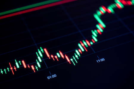 Charts graphs. Financial chart, stock analysis data for business background in digital screen. Graphics growth forex finance market. Trading candlestick chart, cryptocurrency digital economy