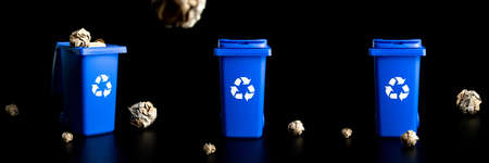 Bin set icon. Container for disposal garbage waste and save environment. Blue dustbin for recycle plastic, paper and glass can trash isolated on black background