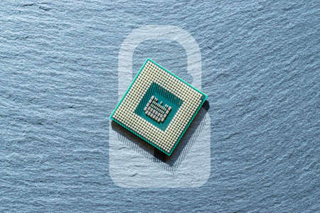 Data security. Digital computer processor, network motherboard chip on dark technology background. Protect personal data and privacy from hacker cyberattack 免版税图像