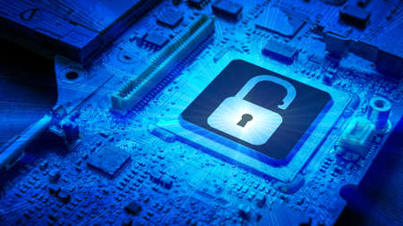 Privacy secure. Network security technology with computer processor chip on digital motherboard background. Protect personal data and privacy from hacker cyberattack