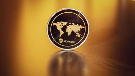 Monero business. Gold Crypto currency BTC Bitcoin on black background. Golden Bit Coin virtual cryptocurrency or blockchain technology. Virtual money and mining concept