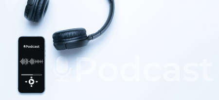 Podcast icon. Audio equipment with microphone, sound headphones, podcast application on mobile smartphone screen. Radio recording sound voice on white background. Broadcast media music concept