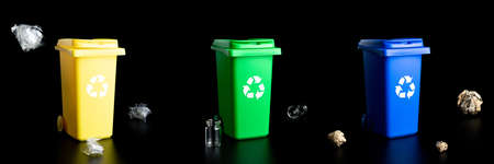Trash sort collection. Bin container for disposal garbage waste and save environment. Yellow, green, blue dustbin for recycle plastic, paper and glass can trash isolated on black background