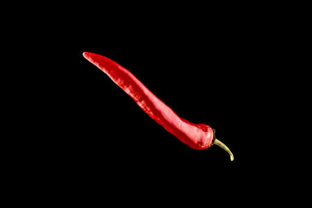 Red jalapeno. Spicy chile cayenne pepper isolated. Red hot chili paprika on black background. Fresh spice vegetable concept