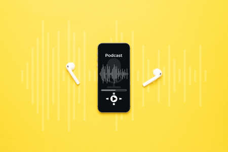 Podcast icon. Audio equipment with microphone, sound headphones, podcast application on mobile smartphone screen. Radio recording sound voice on yellow background. Broadcast media music concept