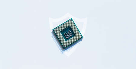 Safety computer. Network digital security technology with computer processor chip on white background. Internet data privacy, cybersecurity protection concept 免版税图像